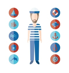 Sailor and icons vector