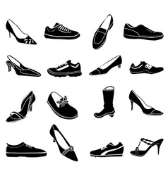 Shoes icons set vector