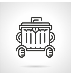 Wheeled garbage can black line icon vector