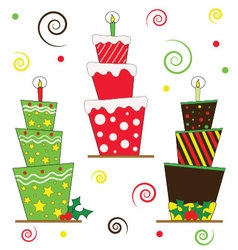 Christmas cakes with candle on top vector