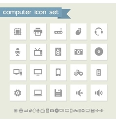 Computer icon set simple flat buttons vector