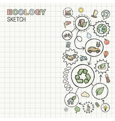 Ecology hand draw integrated icons set on squared vector