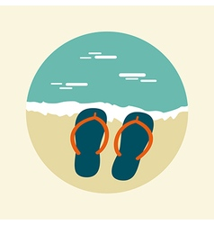 Flip flops icon summer sun sea beach vector