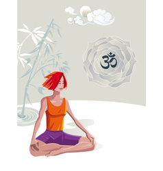 Woman practicing yoga meditation vector