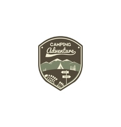 Camping adventure label Mountain winter camp vector image