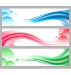 Abstract smooth wavy headers or banners set vector image vector image