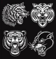 Black and white hand drawn tattoo style animal fac vector