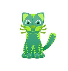 Bright ornamental green cat vector image vector image