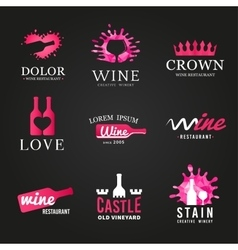 Bright set of wine bottle glass logo Original vector image