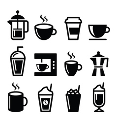 Coffee drinks coffee makers icons set vector