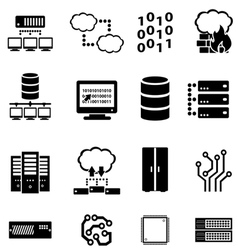 Data computer and cloud computing icons vector image vector image