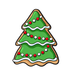 Glazed homemade christmas tree gingerbread cookie vector