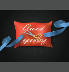 Grand opening card with blue ribbon scissors on vector