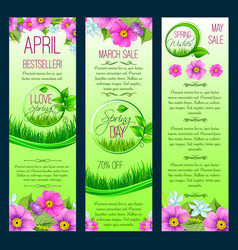 Green floral banners for spring sale vector