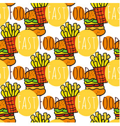 Hand drawn seamless pattern with fast food doodle vector