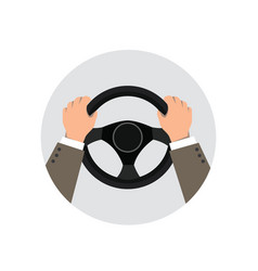 hands on the wheel of a car vector image vector image
