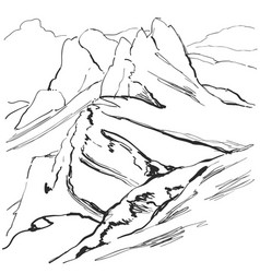 Highland mountain landscape with snowy ridge vector