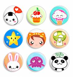 kawaii badges vector image vector image