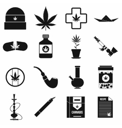 Marijuana icons set simple style vector image