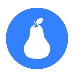 Pear icon black singe fruit icon vector