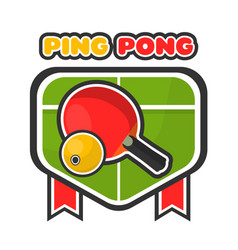 Ping pong game colorful logotype with table and vector