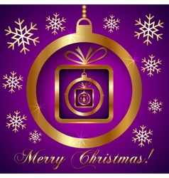 Pink Violet Gold Decorative Christmas Greeting vector image vector image