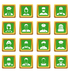 Professions icons set green vector