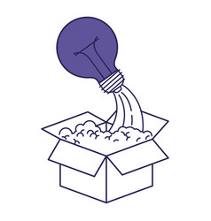 Purple line contour of cardboard box and light vector