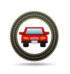 red car front circle road way design vector image