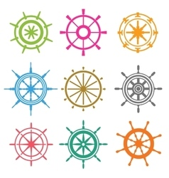 rudder flat icons set vector image vector image