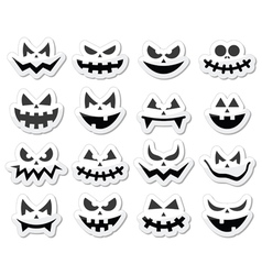 Scary Halloween pumpkin faces icons set vector image vector image