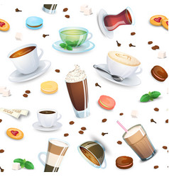 Seamless pattern with coffee drinks tea and sweets vector