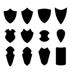 Set of shield in silhouette style vector