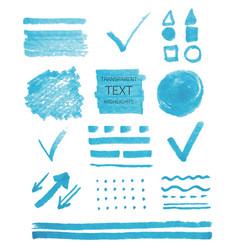 Set of transparent highlighter marks blue color vector