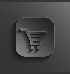 Shopping cart icon - black app button vector image