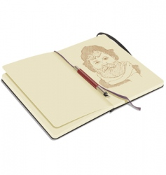 sketchbook with pen vector image vector image
