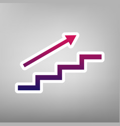 stair with arrow purple gradient icon on vector image vector image
