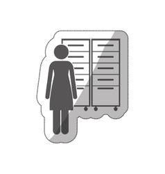 Sticker silhouette archiver with filling cabinet vector
