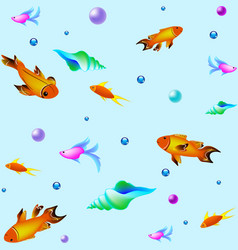 underwater pattern with fishes sea texture vector image