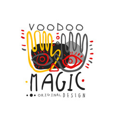 Voodoo african and american magic logo with hands vector