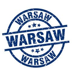 Warsaw blue round grunge stamp vector