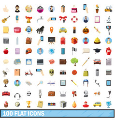 100 flat icons set cartoon style vector image vector image
