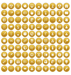 100 space icons set gold vector