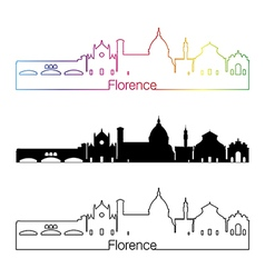 Florence skyline linear style with rainbow vector image