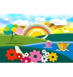 Abstract Landscape Spring - Summer - Autumn vector image
