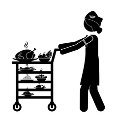 Isolated stewardess with food cart design vector