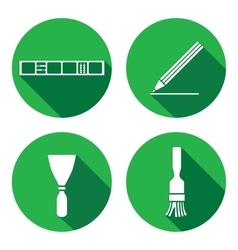 Tool icons set spattle brush surfacer vector