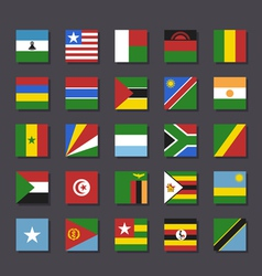 Africa flag icon set metro style vector