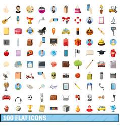 100 flat icons set cartoon style vector image