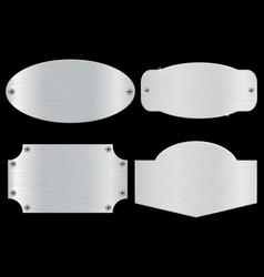 metal plates on black background vector image